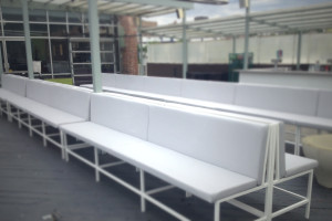 Dance Club Remodel with Custom Designed Bench Seats Fabricated with BoltaSport Olympus Light Gray