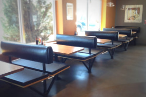Restaurant Seating Remodel with New Booth Seat Cushions in NaugaSoft Black Satin