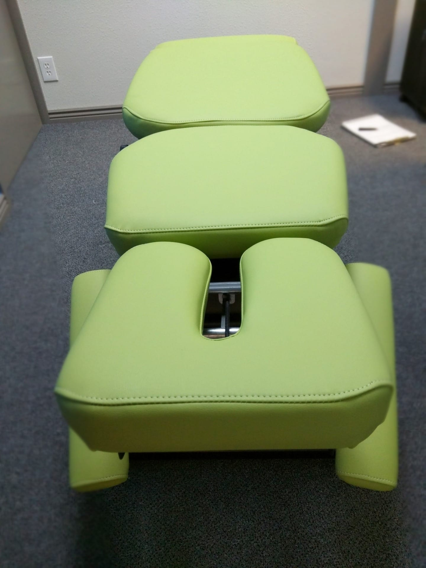 Chiropractic Therapy Table Upholstered with BoltaSport Olympus Honeydew