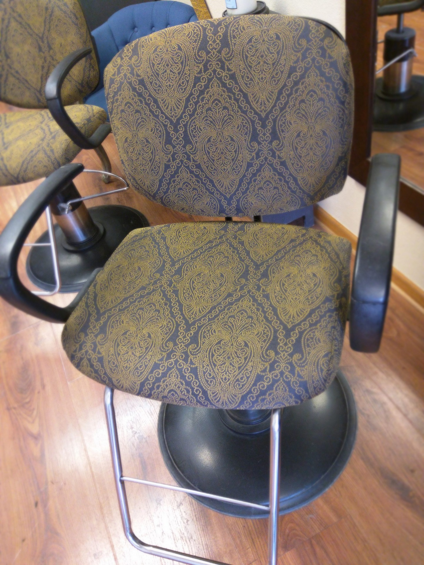 Salon Chair Upholsterey in Bombay Goldmine and sprayed with 303 Fabric Guard
