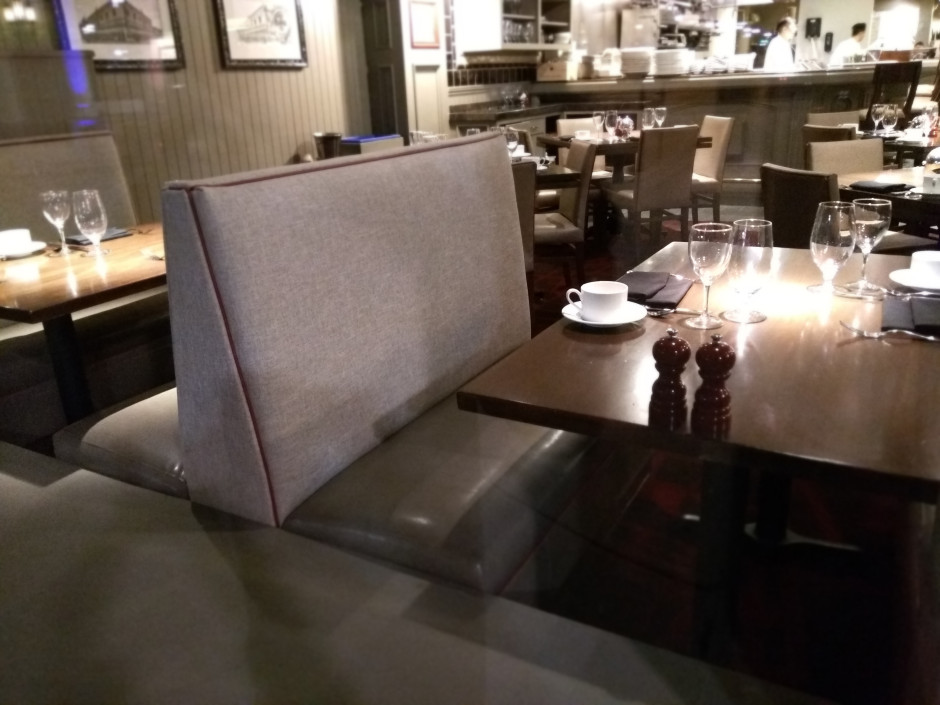 Panzano Restaurant Remodel 4-Top Booth Seat Recovered