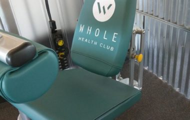 Custom Embroidery Cybex Leg Curl Reupholstered in Olympus Grotto Vinyl