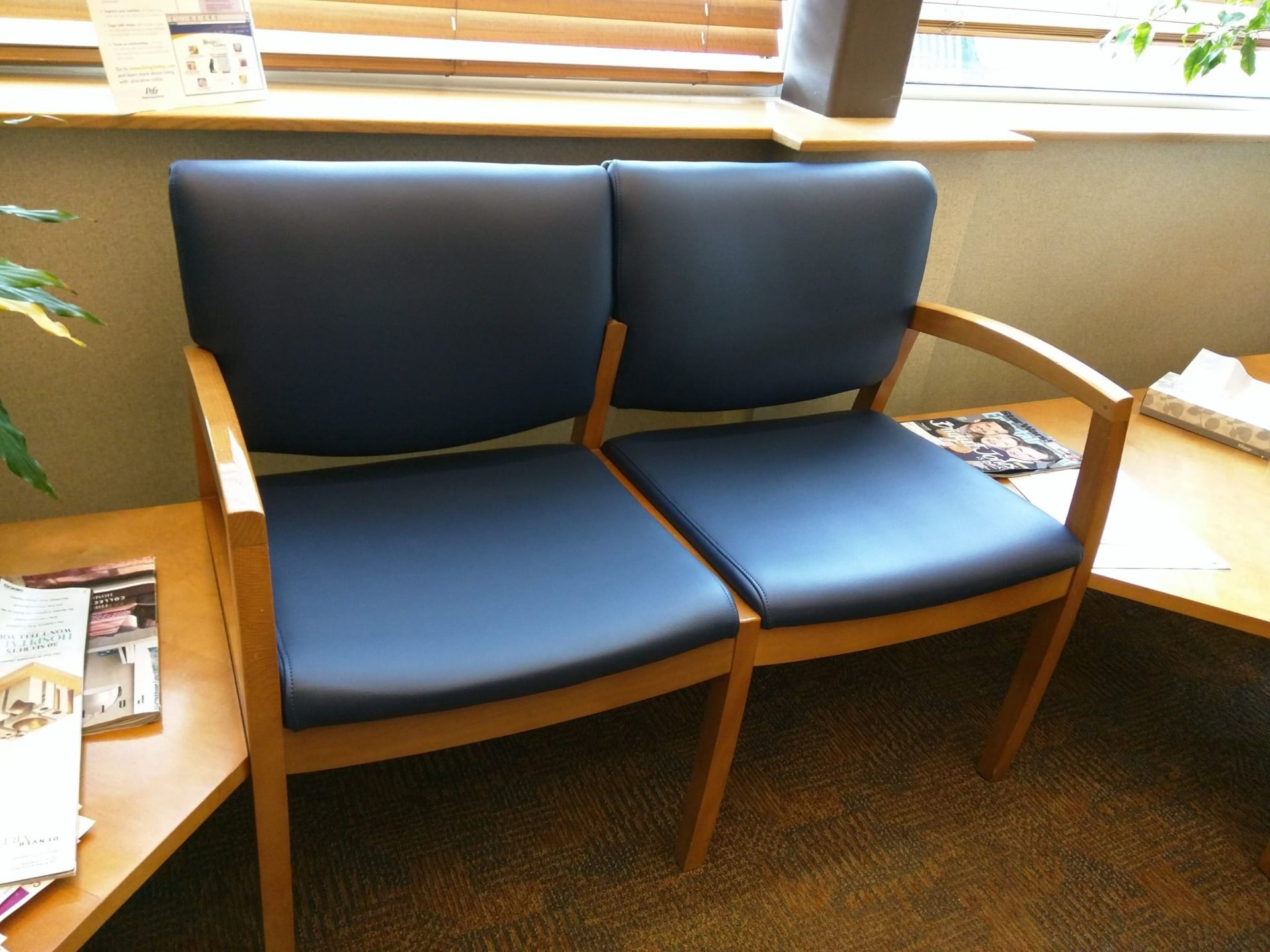 Waiting Room Lobby Chair Double Seat Section Reupholstered in Olympus Majestic