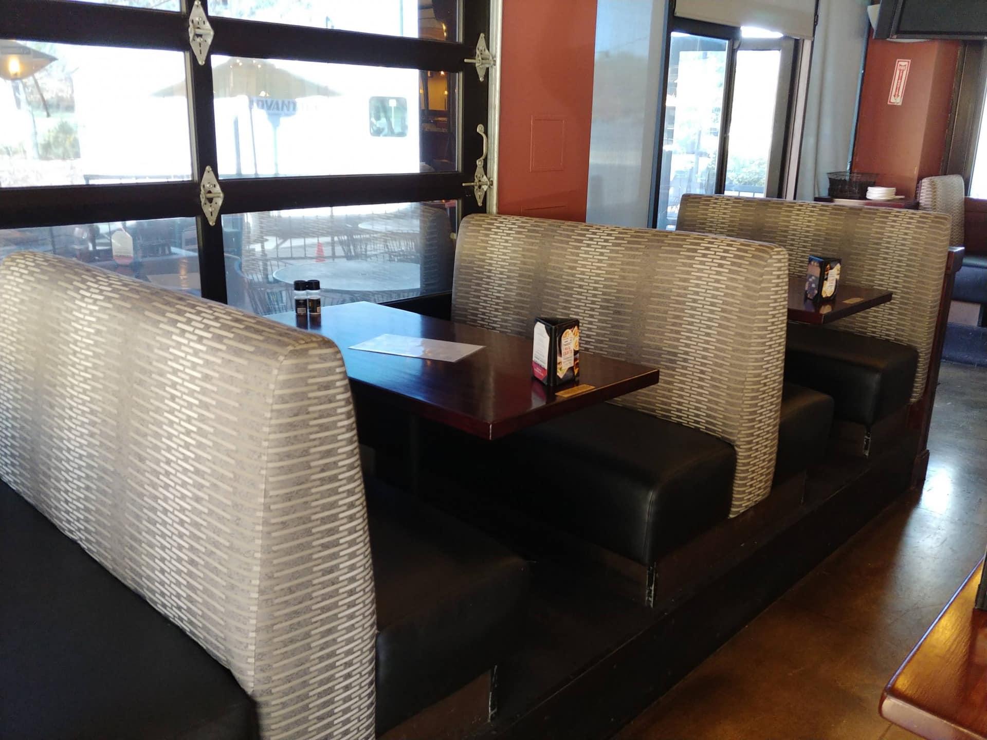 4-Top Booth Seats.Restuarant Remodel.Gordon Biersch Brewing Company