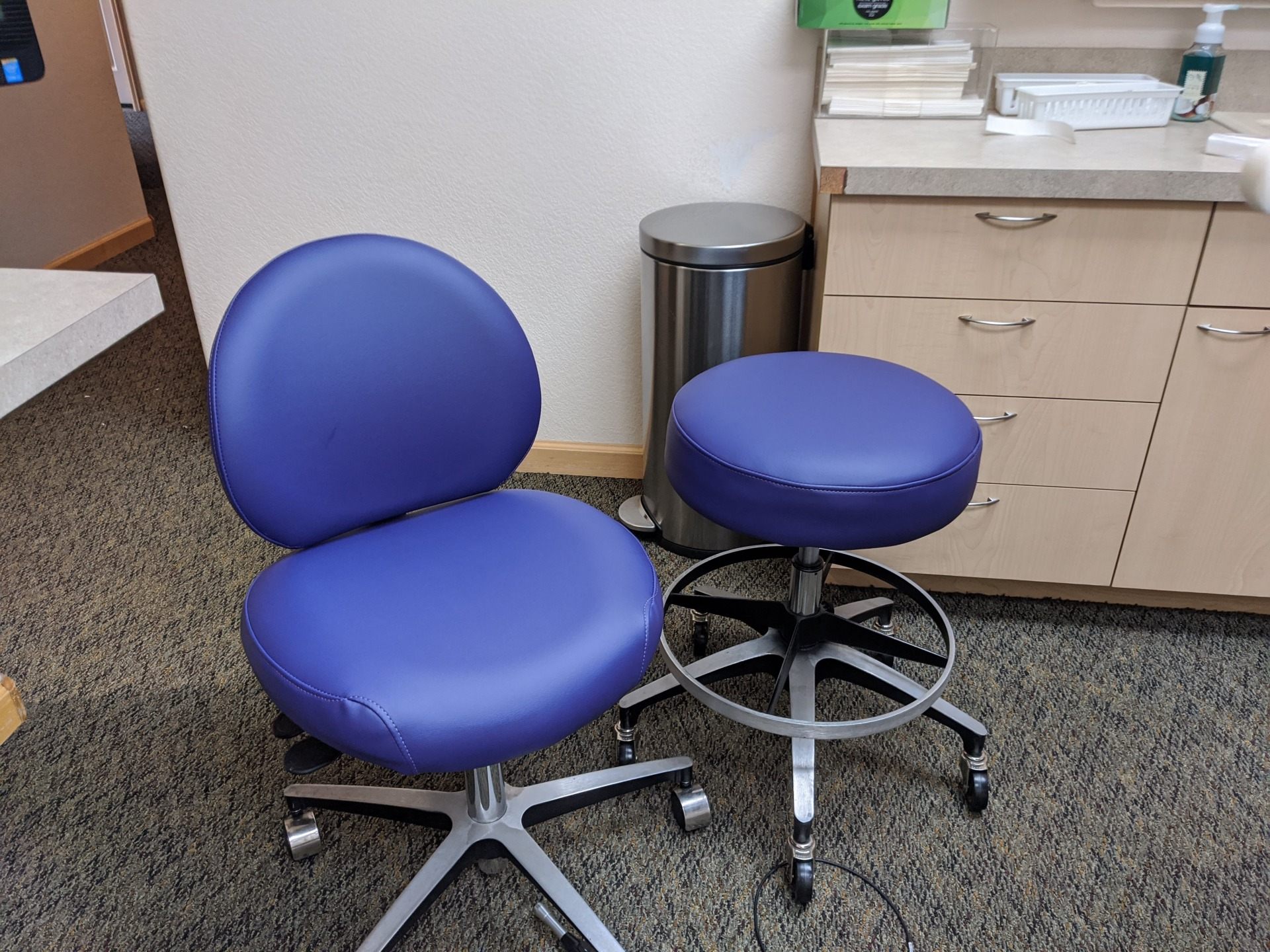Dentist Chair and Stool Olympus Deep Violet Vinyl Medical Grade Vinyl