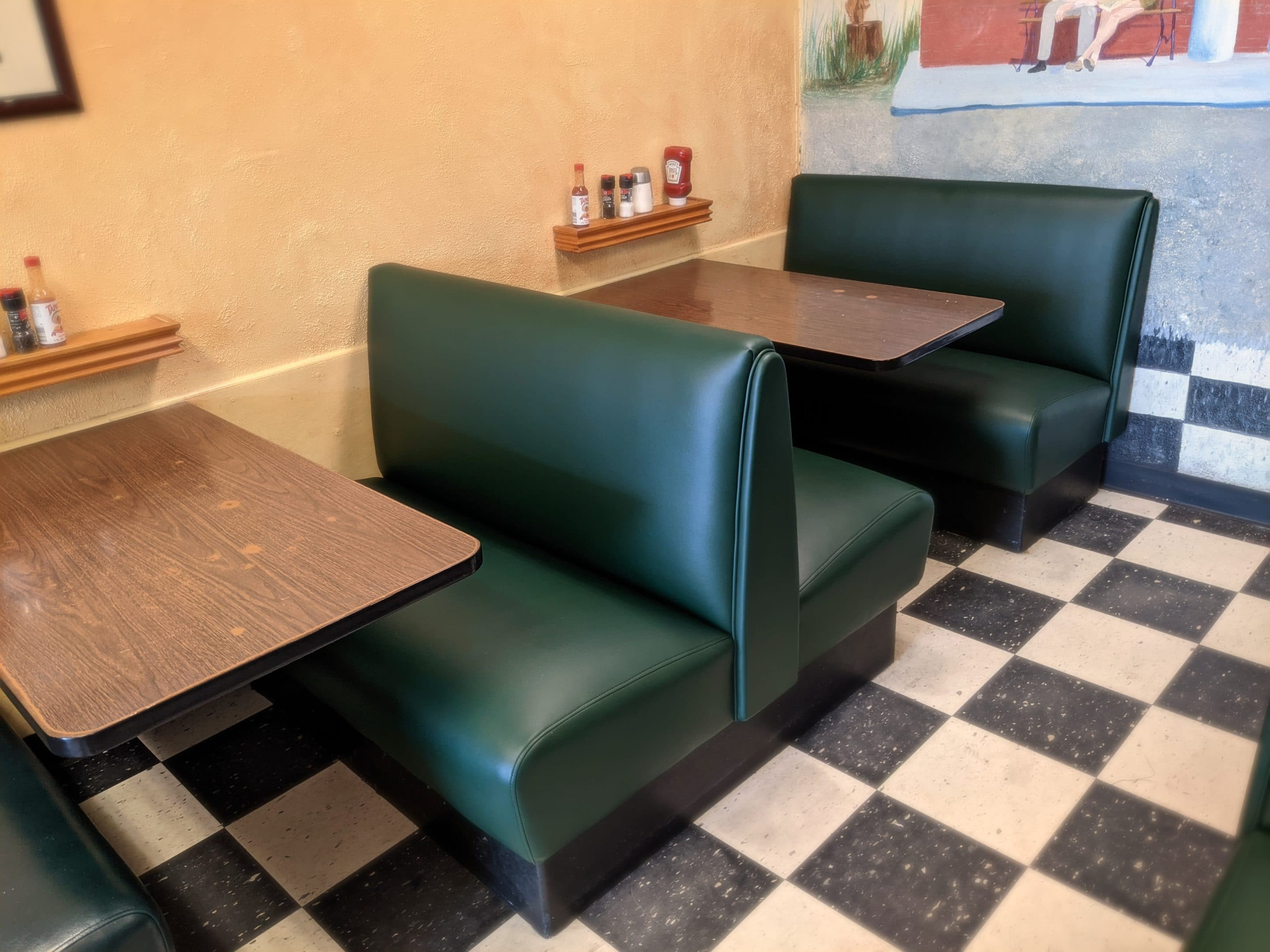 Restaurant Double 4-Top Booth Upholstery Pine Needle Olympus